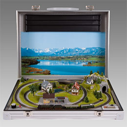 Train set in a suitcase