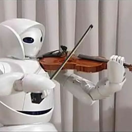 Robot plays violin